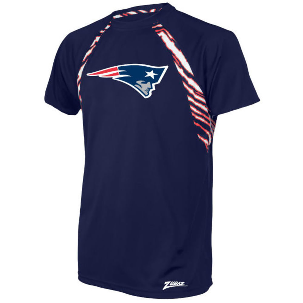 NEW ENGLAND PATRIOTS Men's Zebra Stripe Poly Raglan Short-Sleeve Tee - MULTI