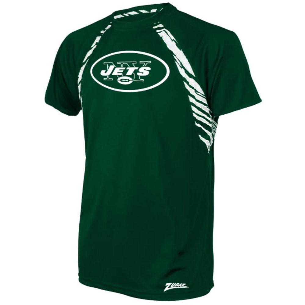 New York Jets Men's Zebra Stripe Poly Raglan Short-Sleeve Tee - Various Patterns, L