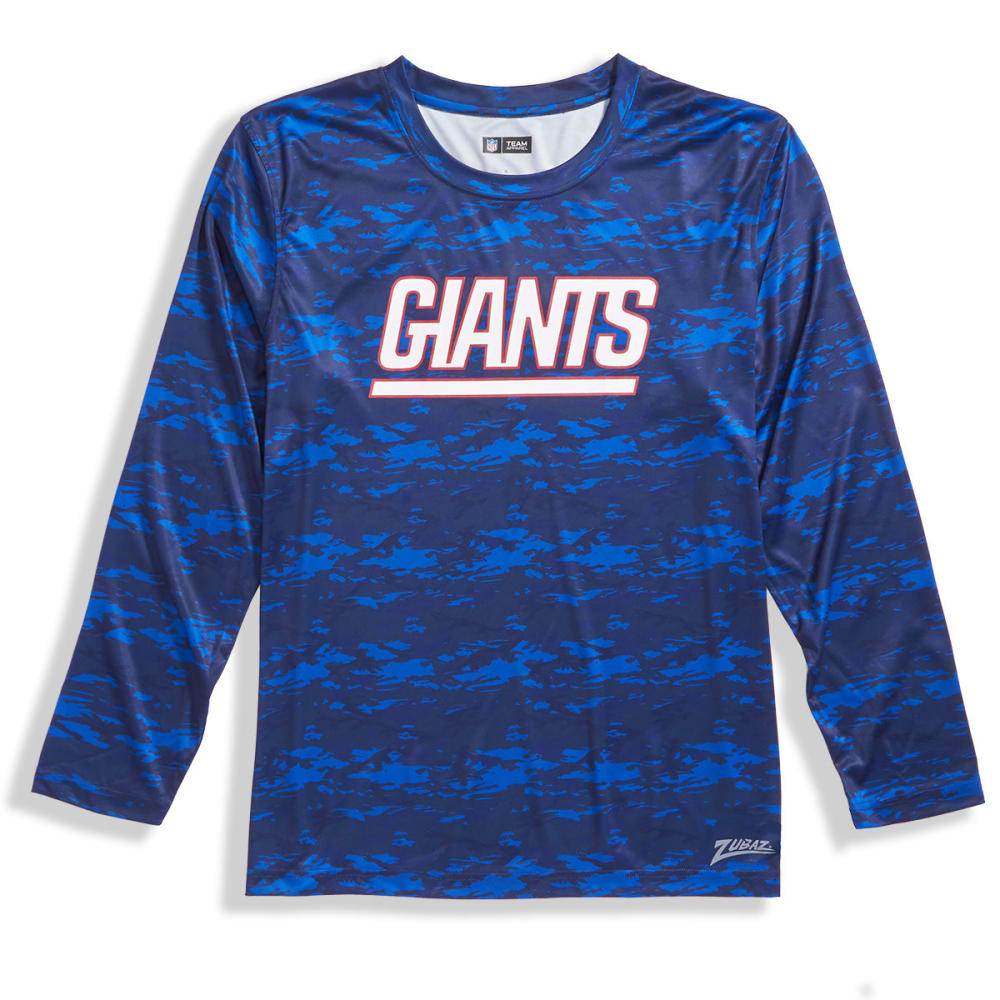 NEW YORK GIANTS Men's Tone-on-Tone Post Poly Long-Sleeve Tee M