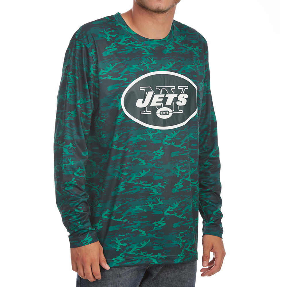 New York Jets Men's Tone-On-Tone Post Poly Long-Sleeve Tee - Green, M
