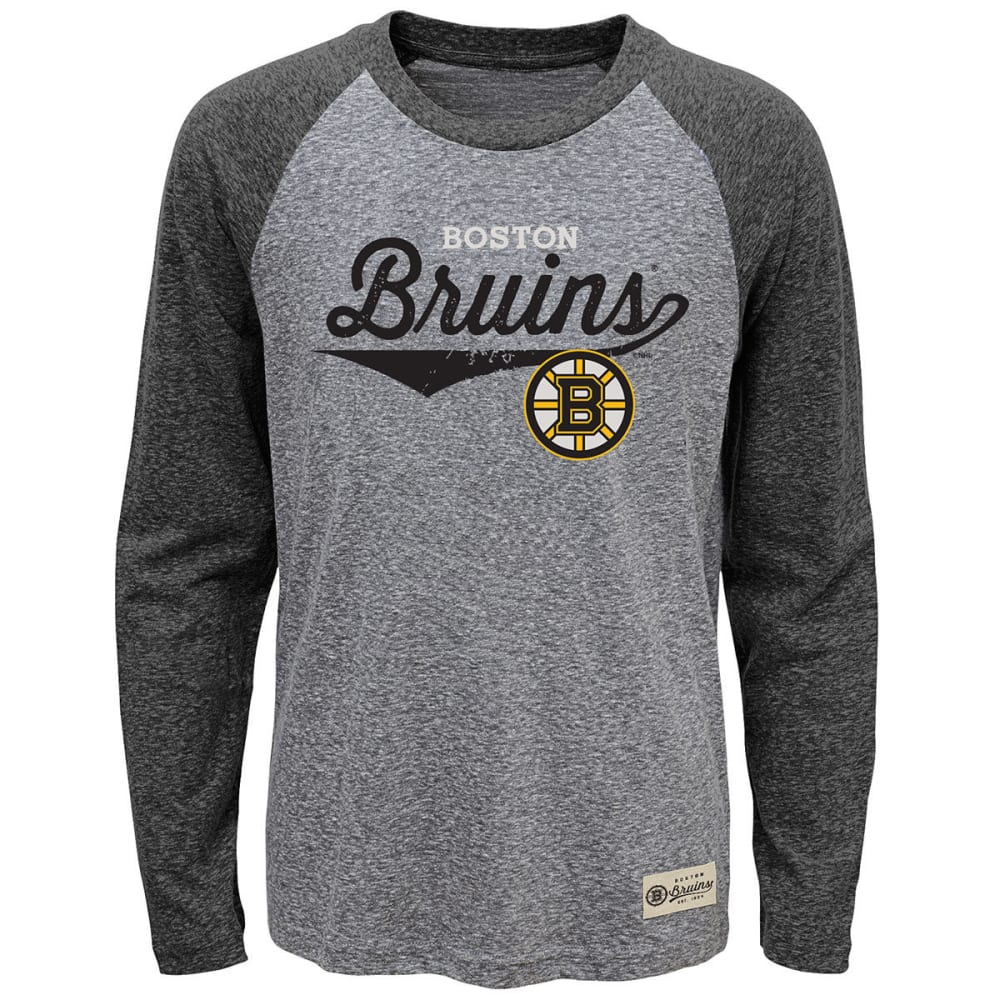 BOSTON BRUINS Boys' Hockey Roots Raglan Long-Sleeve Tee - BLACK