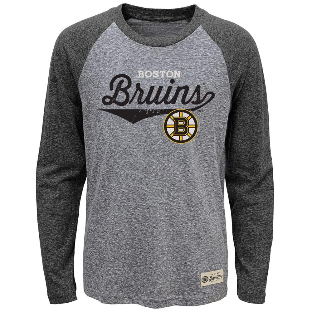 BOSTON BRUINS Boys' Hockey Roots Raglan Long-Sleeve Tee - BLACK