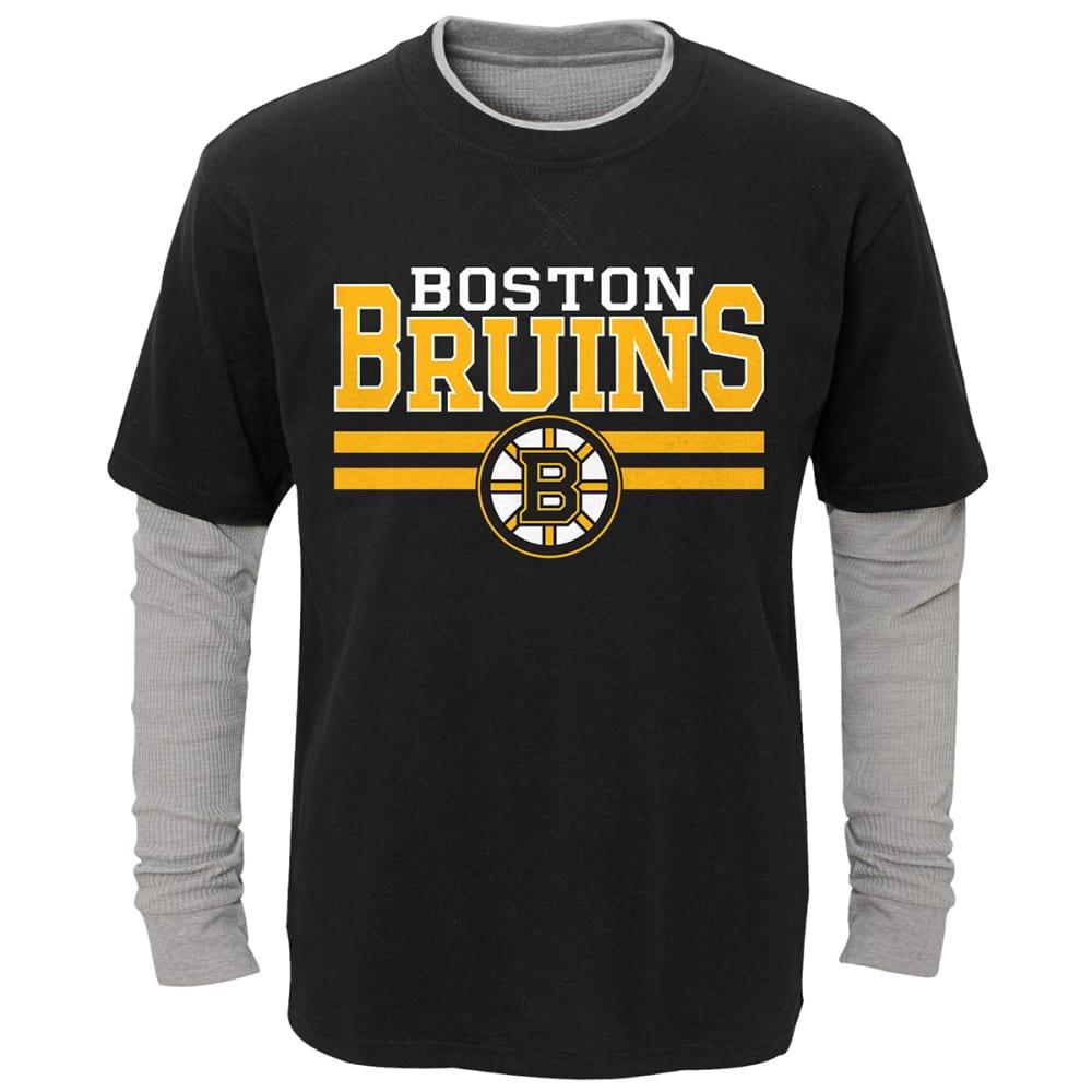 BOSTON BRUINS Little Boys' Faux Layered Long-Sleeve Tee - BLACK