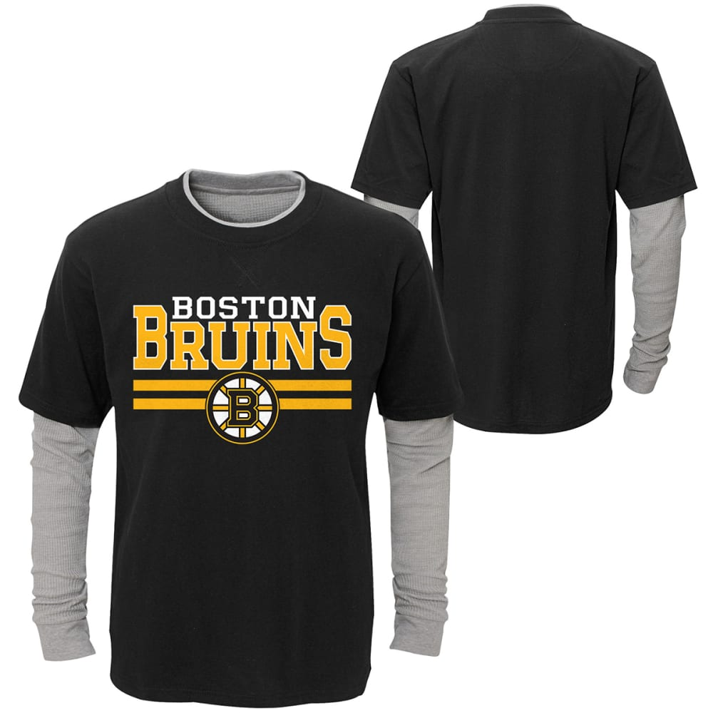 BOSTON BRUINS Little Boys' Faux Layered Long-Sleeve Tee - BLACK