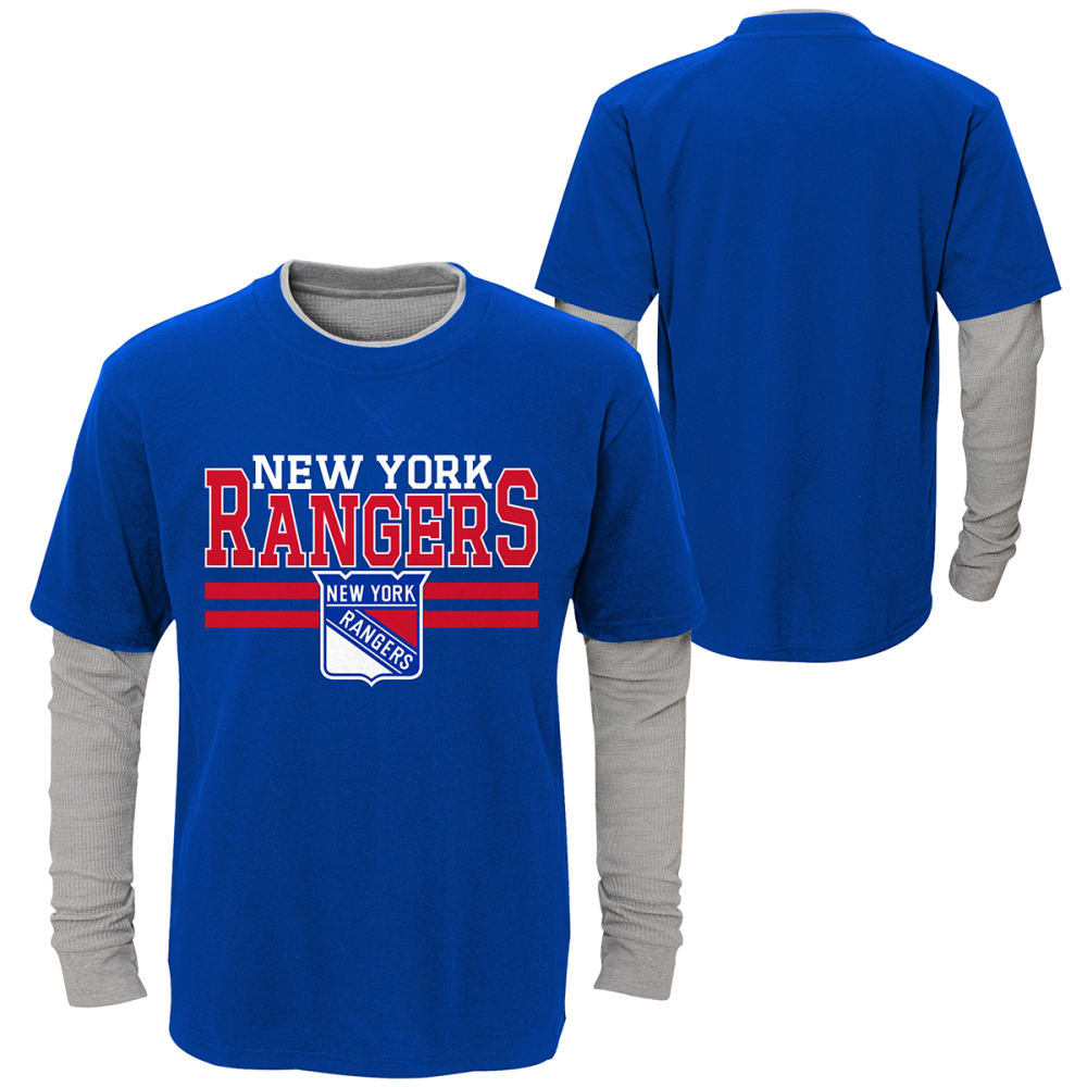 NEW YORK RANGERS Big Boys' Defensive Pair Layered Long-Sleeve Tee - ROYAL BLUE