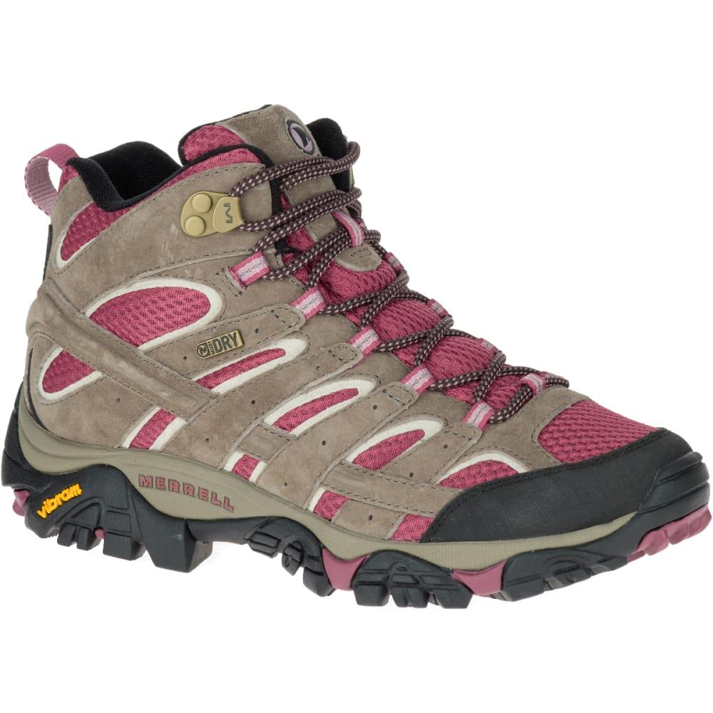 MERRELL Women's Moab 2 Mid Waterproof Hiking Boots, Boulder/ Blush - BOULDER/BLUSH
