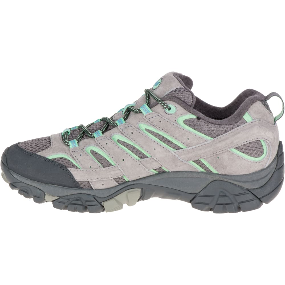MERRELL Women's Moab 2 Waterproof Hiking Shoes, Drizzle/ Mint,Wide - DRIZZLE/MINT