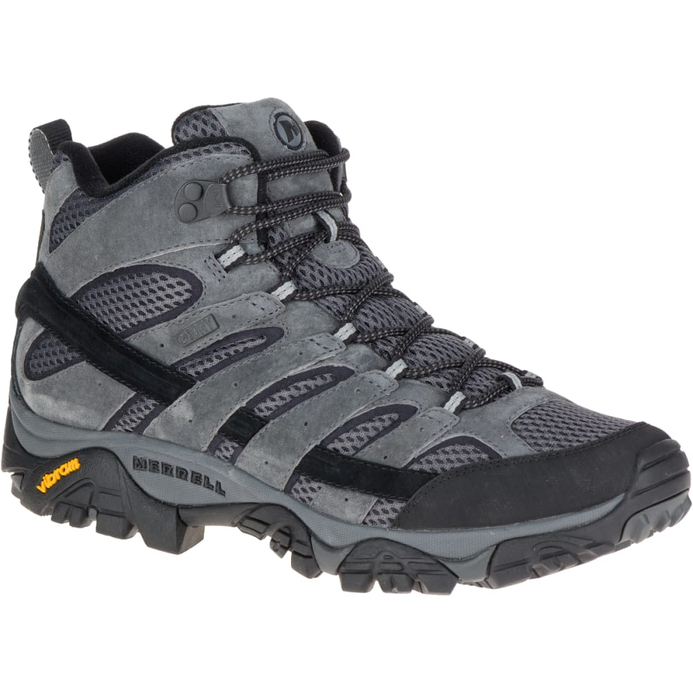 MERRELL Men's Moab 2 Mid Waterproof Hiking Boots, Granite, Wide - GRANITE