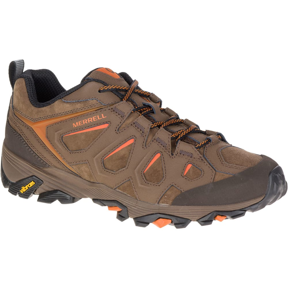 MERRELL Men's Moab FST Leather Hiking Shoes, Dark Earth, Wide - DARK EARTH