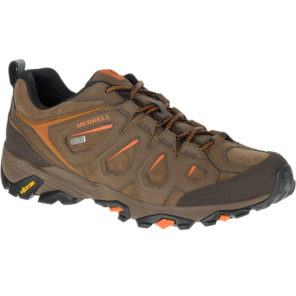 MERRELL Men's Moab FST Leather Waterproof Hiking Shoes, Dark Earth, Wide - DARK EARTH