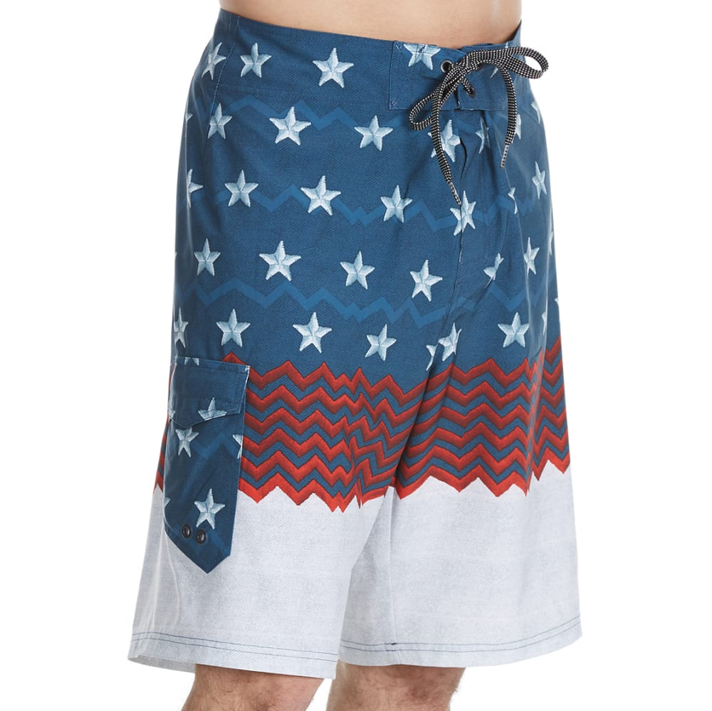 OCEAN CURRENT Guys' Pioneer Stars and Stripes Boardshorts - BLUE