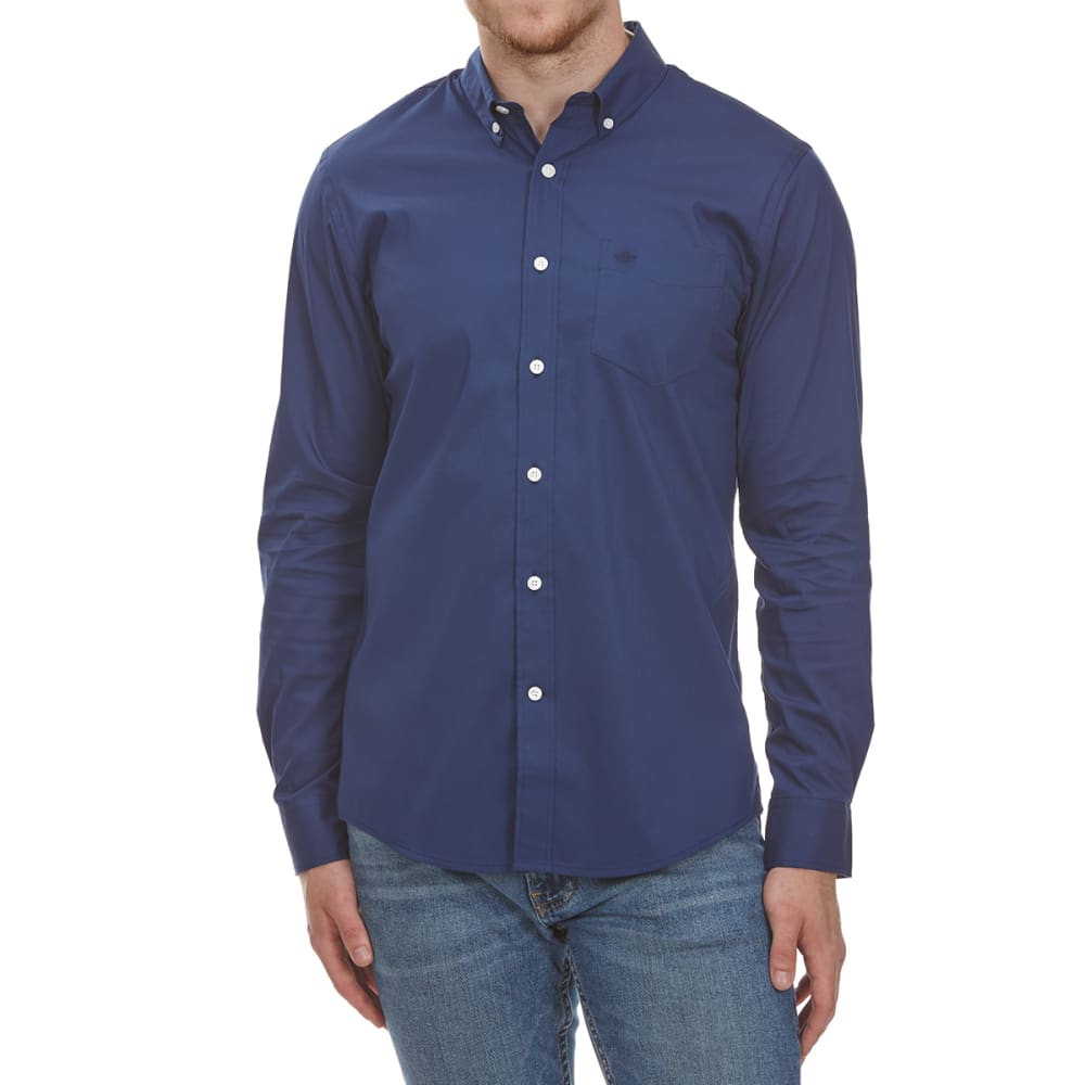 DOCKERS Men's Anchor Solid Woven Long-Sleeve Shirt - MEDIEVAL BLUE-0636