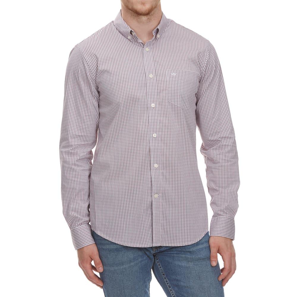 DOCKERS Men's Stretch Grid Woven Long-Sleeve Shirt - RIO RED-0355