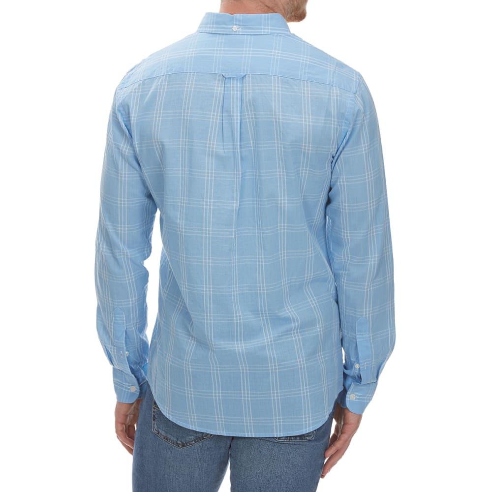 DOCKERS Men's Beach Poplin Grid Woven Long-Sleeve Shirt - AIRY BLUE-0419