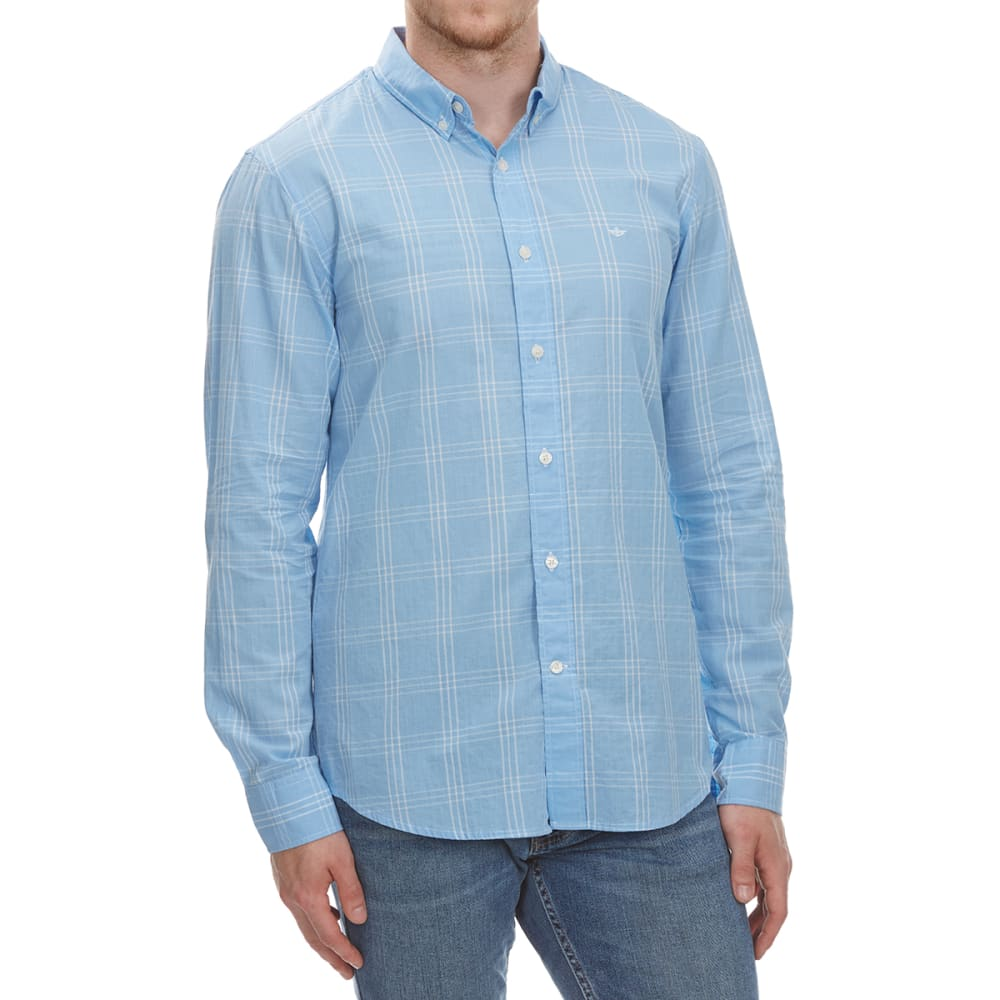 Dockers Men's Beach Poplin Grid Woven Long-Sleeve Shirt - Blue, M