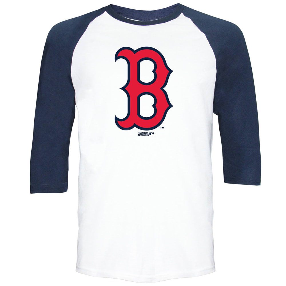 BOSTON RED SOX Men's Raglan ¾-Sleeve Tee - WHITE/NAVY