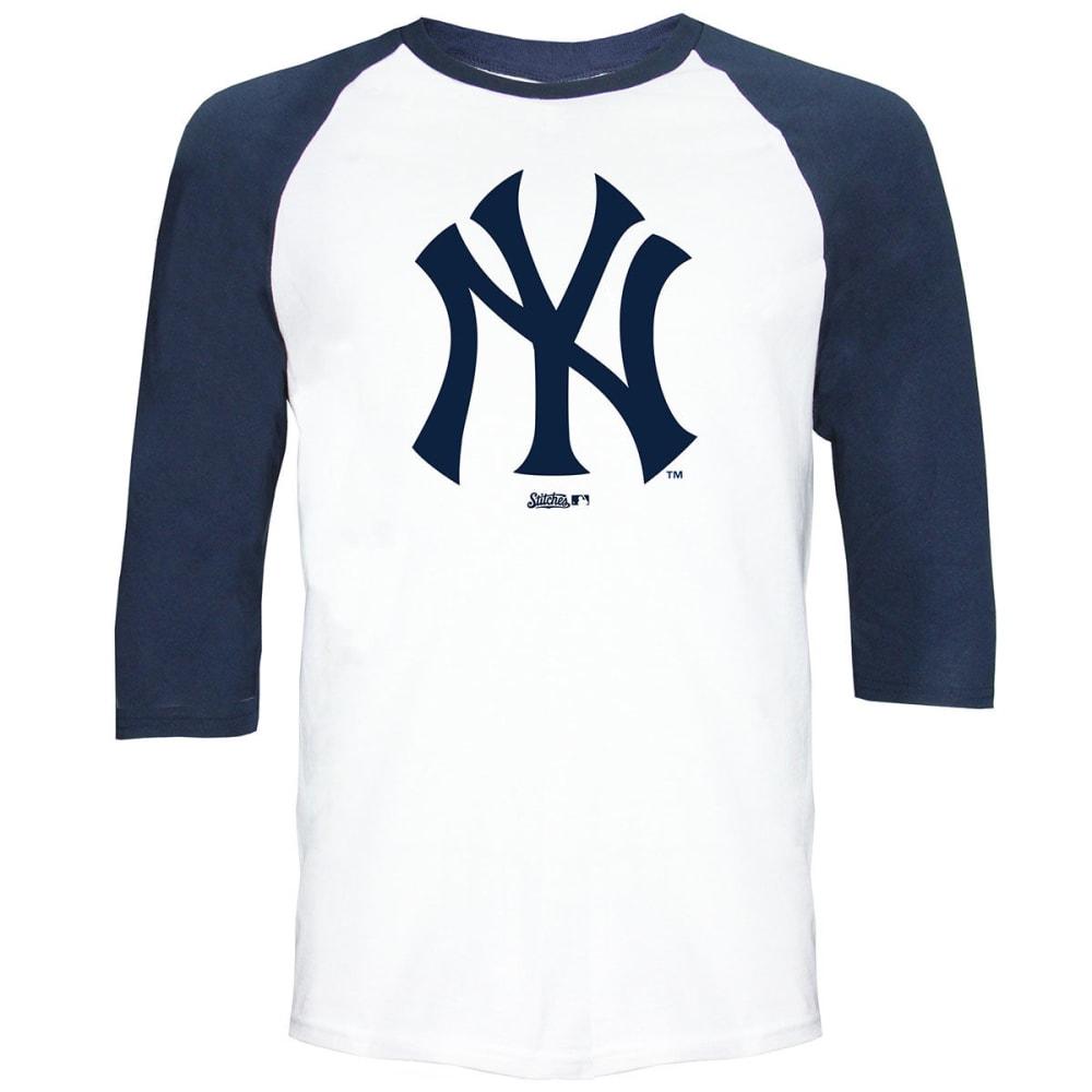 NEW YORK YANKEES Men's Raglan ¾-Sleeve Tee - WHITE/NAVY