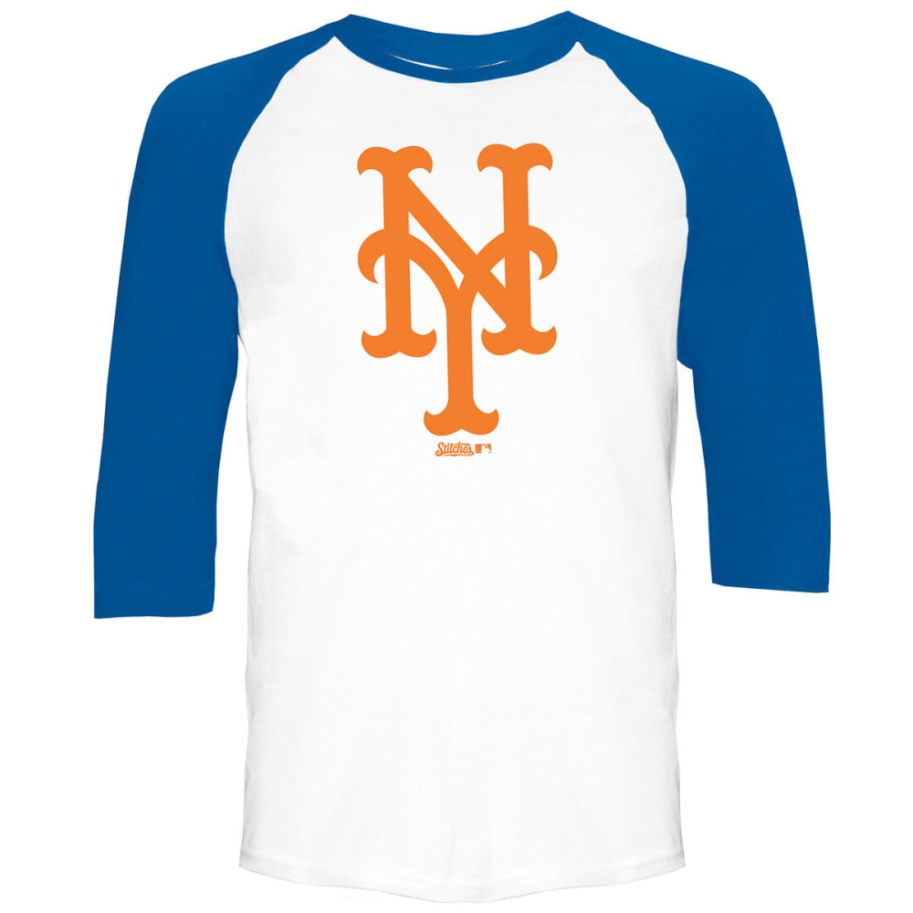 NEW YORK METS Men's Raglan ¾-Sleeve Tee - WHITE/ROYAL