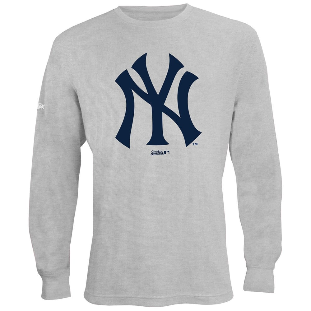 NEW YORK YANKEES Men's Thermal Long-Sleeve Top - HEATHER GREY