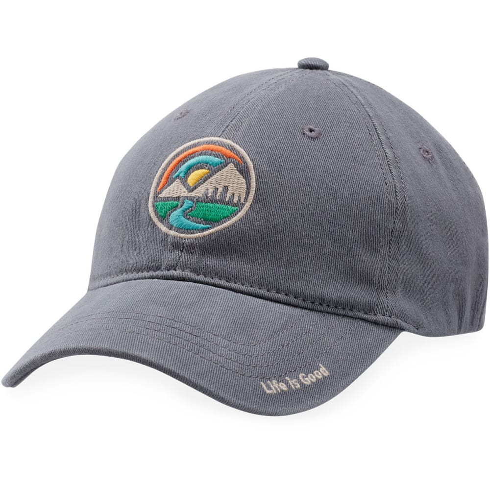LIFE IS GOOD Men's Mountain Circle Sueded Stretch Cap - SLATE GREY