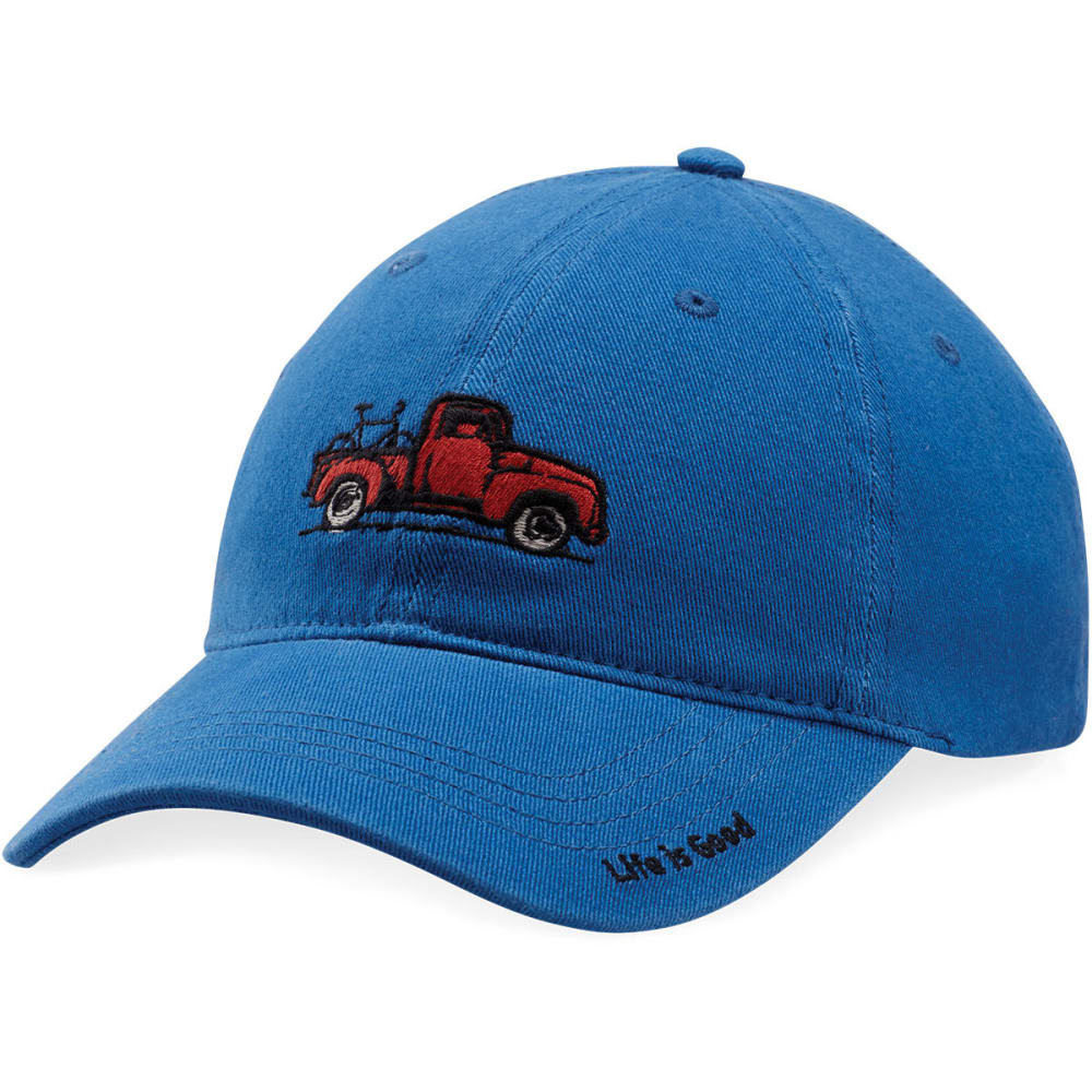 LIFE IS GOOD Men's Truck Bike Sueded Stretch Cap - VINTAGE BLUE