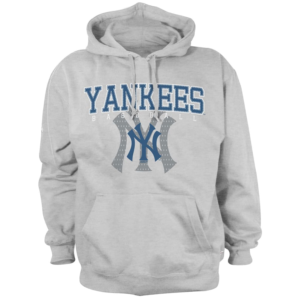 NEW YORK YANKEES Men's Pullover Hooded Fleece - HEATHER GRYE