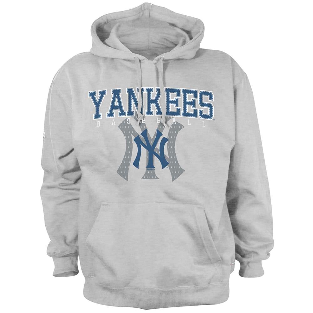 NEW YORK YANKEES Men's Pullover Hooded Fleece - HEATHER GRYE