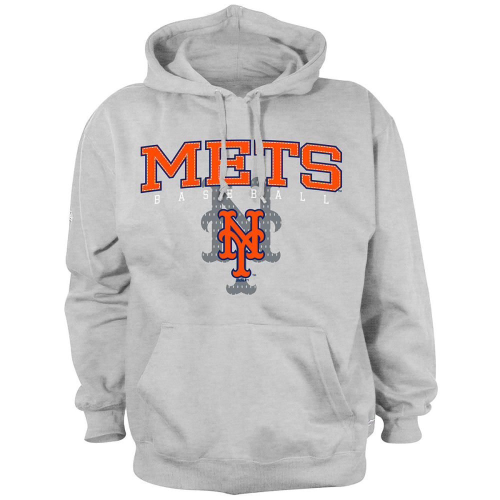 NEW YORK METS Men's Pullover Hooded Fleece - HEATHER GREY