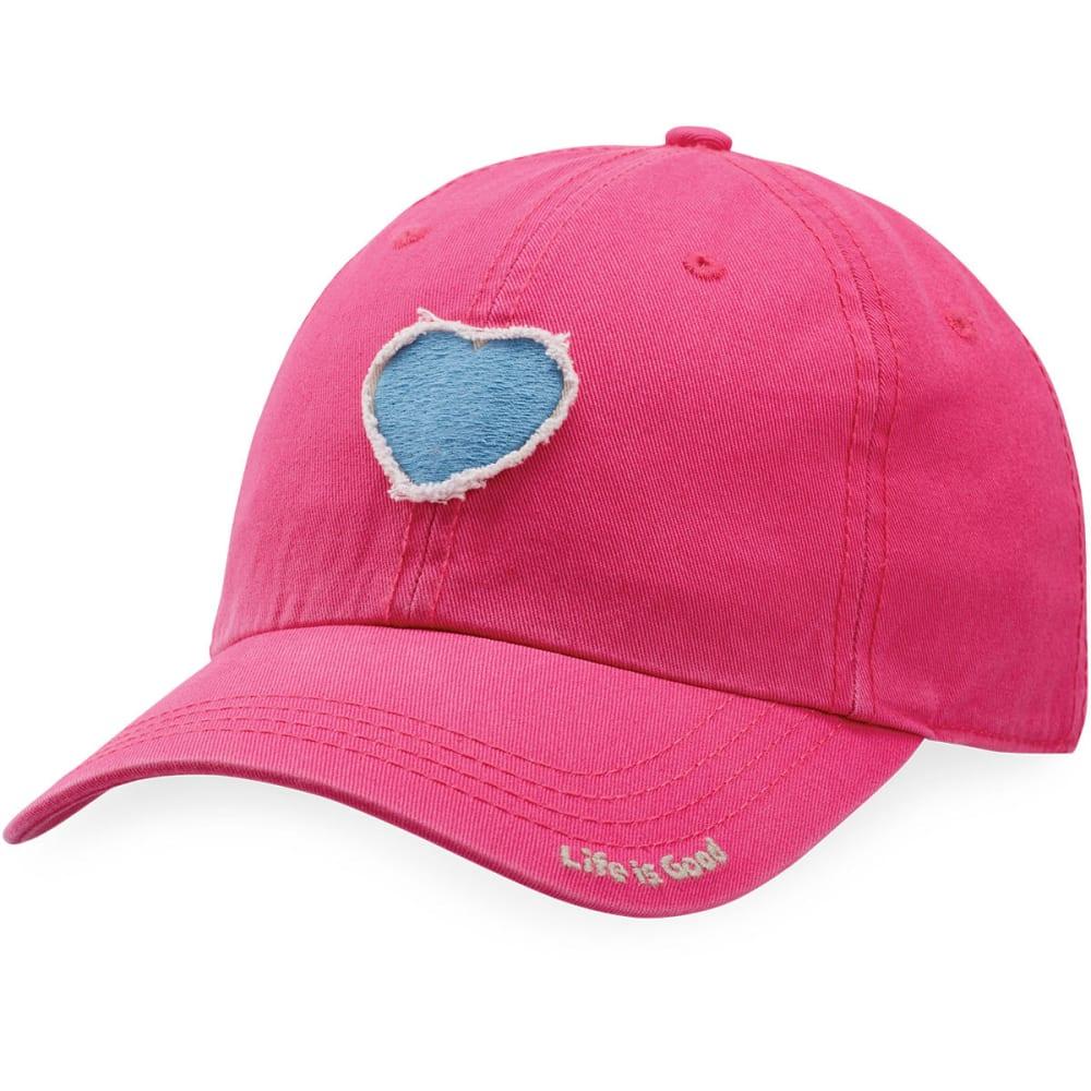 LIFE IS GOOD Women's Heart Tattered Chill Cap - POP PINK