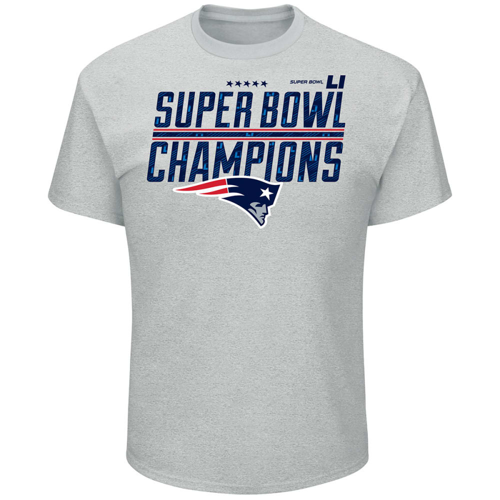 NEW ENGLAND PATRIOTS Men's Super Bowl LI Champ Time Short-Sleeve Tee - STEEL HEATHER