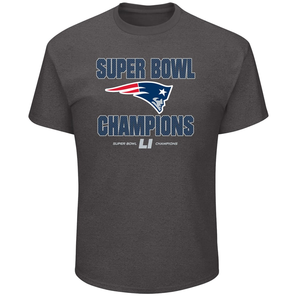 NEW ENGLAND PATRIOTS Men's Super Bowl LI Run Down Short-Sleeve Tee - CHARCOAL HEATHER