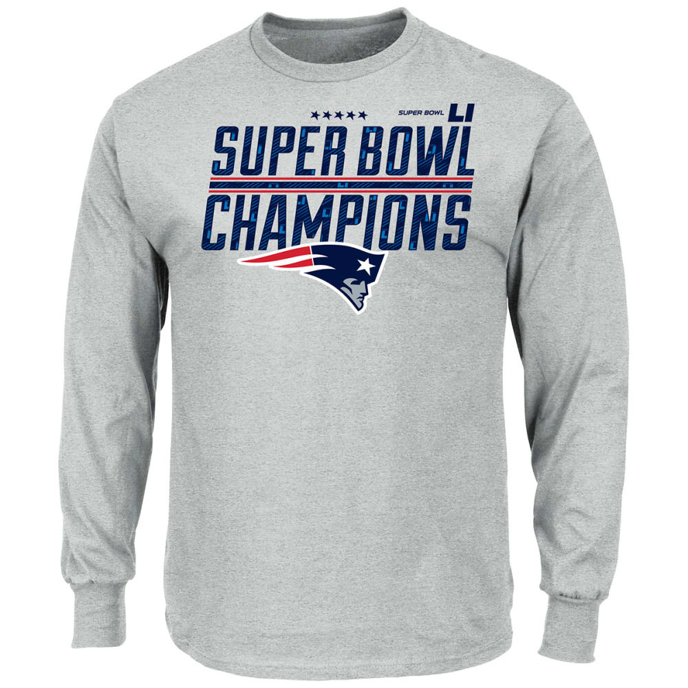 NEW ENGLAND PATRIOTS Men's Super Bowl LI Champ Time Long-Sleeve Tee - STEEL HEATHER