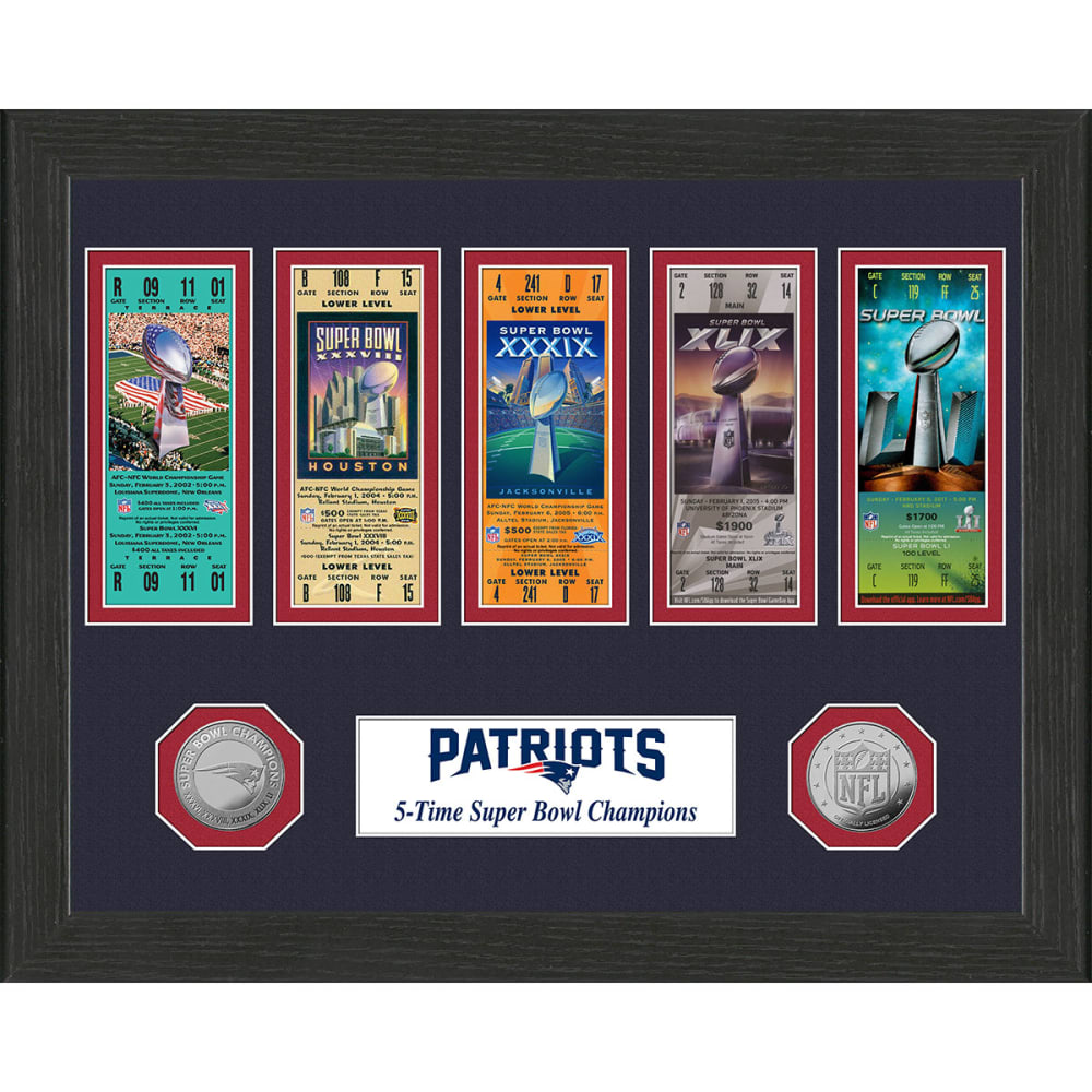 NEW ENGLAND PATRIOTS 5 Times Super Bowl Champions Ticket Collection - NO COLOR