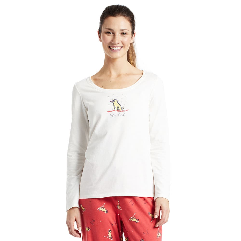 LIFE IS GOOD Women's Winter Rocket Long-Sleeve Sleep Tee - SIMPLY IVORY