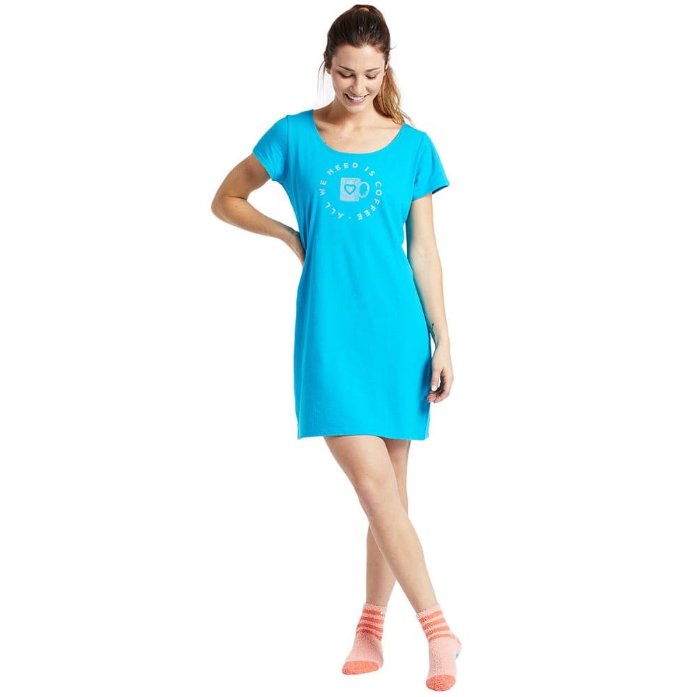 LIFE IS GOOD Women's Need Coffee Sleep Tee Dress - TURQUOISE