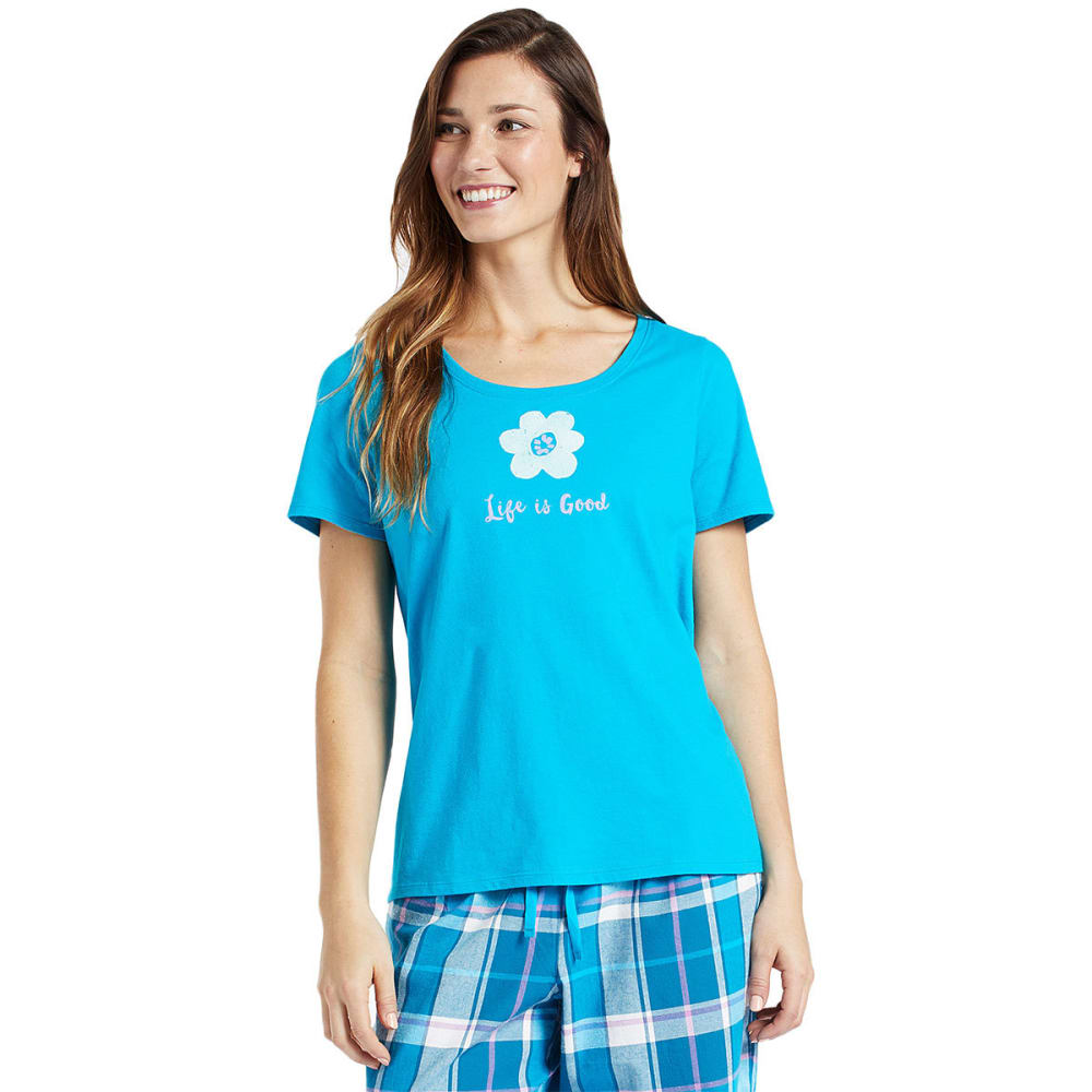 LIFE IS GOOD Women's Flower Snuggle Up Sleep Short-Sleeve Tee - COOL TURQUOISE