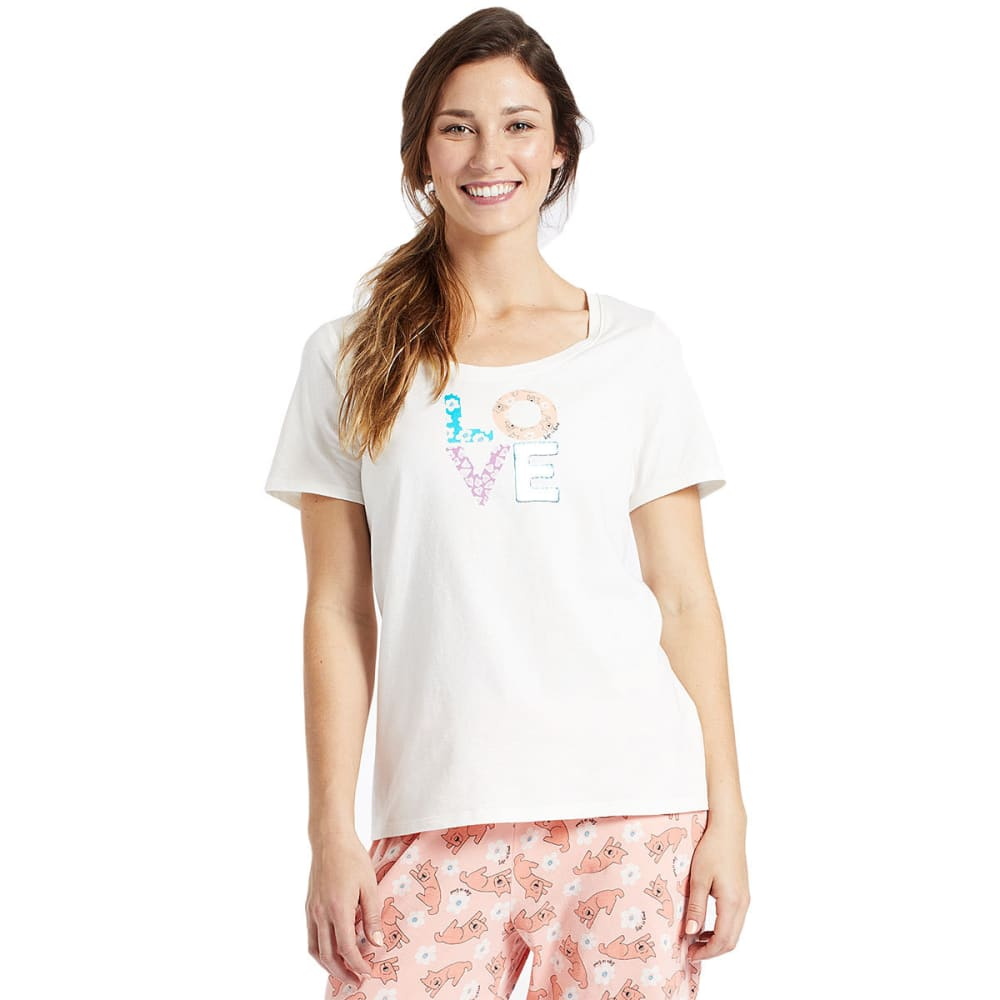 LIFE IS GOOD Women's Love Patterns Snuggle Up Sleep Tee - SIMPLY IVORY