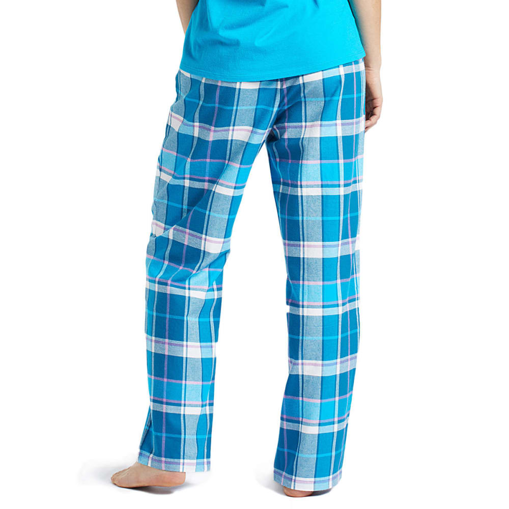 LIFE IS GOOD Women's Blue Plaid Classic Sleep Pants - COOL TURQUOISE