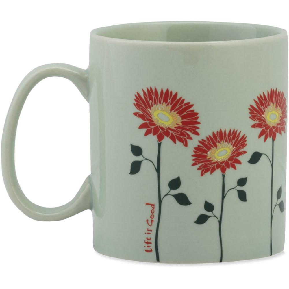 LIFE IS GOOD Flowers Jake's Mug - MINTY GREEN
