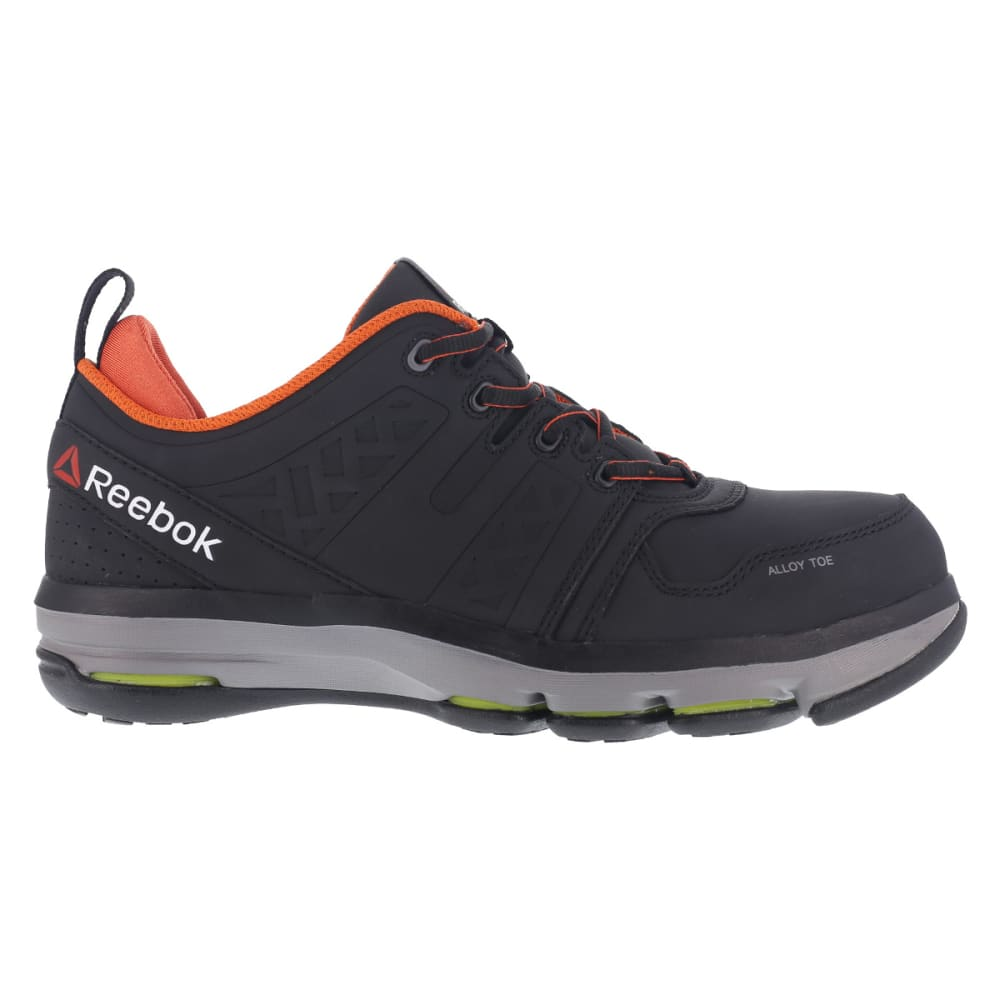 REEBOK WORK Men's DMX Flex Alloy Toe Work Shoes, Black/ Orange, Wide - BLACK/ORANGE