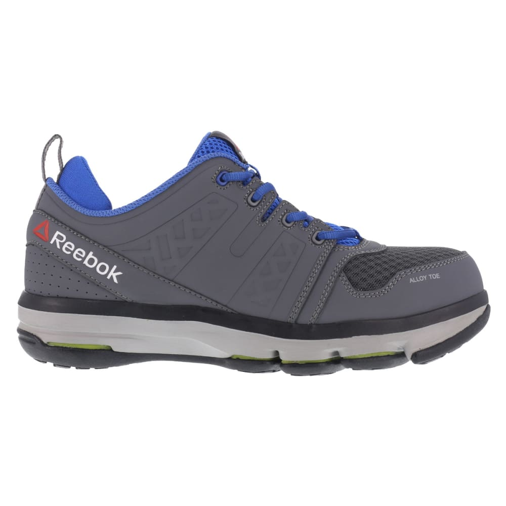 REEBOK WORK Men's DMX Flex Work Alloy Toe Work Shoes, Grey/ Blue, Wide - GREY/BLUE