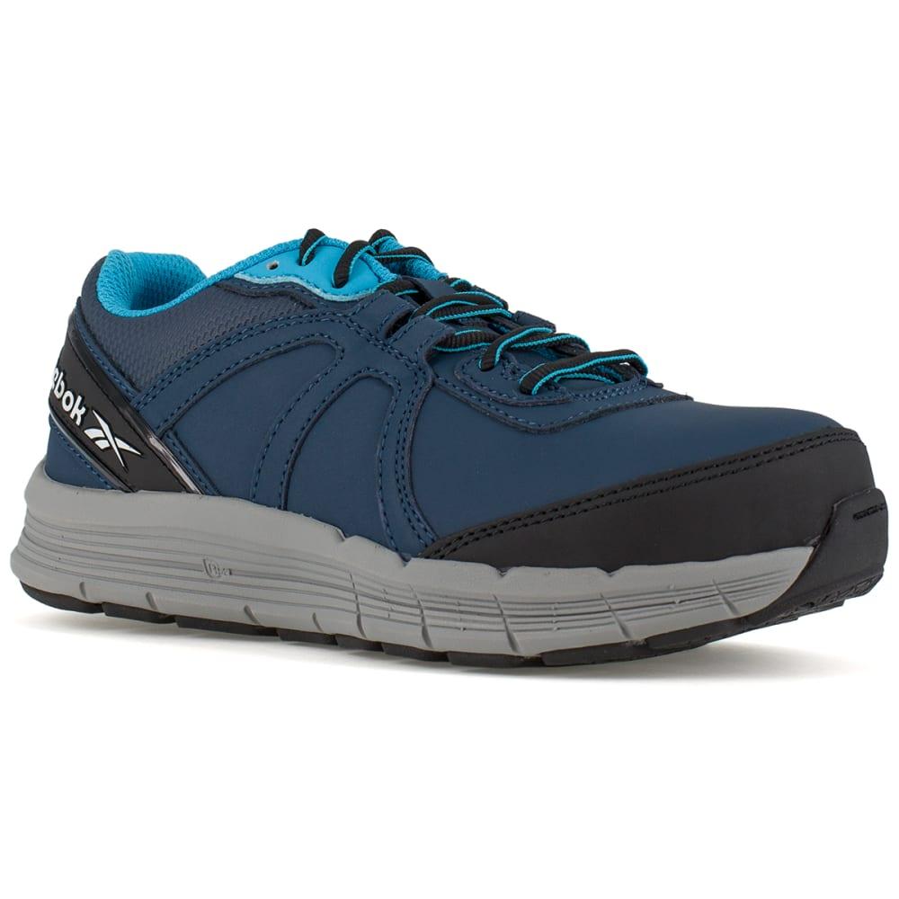 REEBOK WORK Women's Guide Work Steel Toe Work Shoes, Navy/ Light Blue, Wide 6