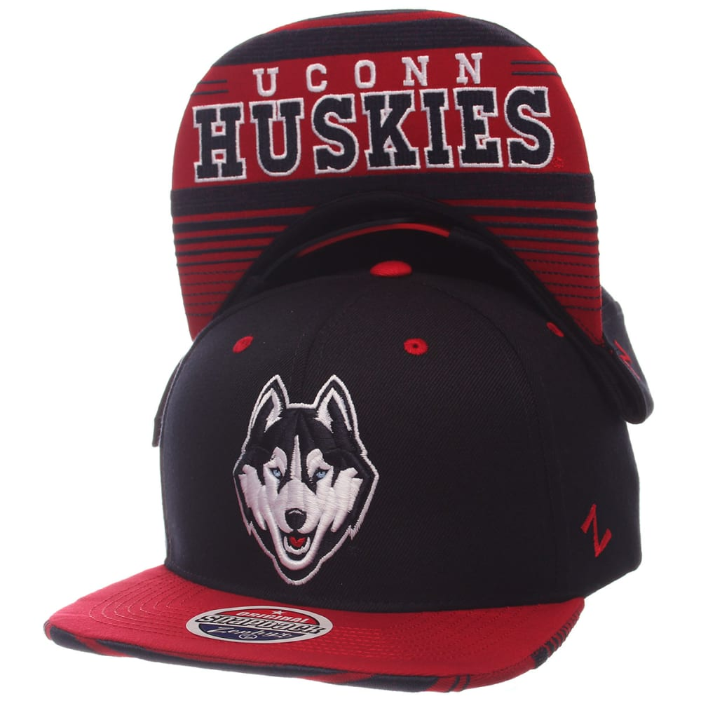 UCONN Men's Drop Step Snapback Cap - NAVY/RED
