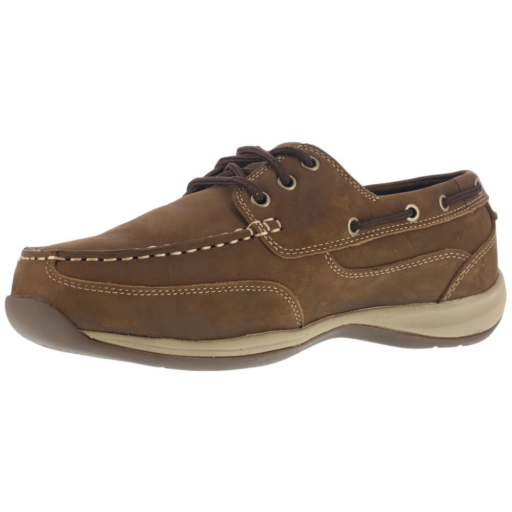 ROCKPORT WORKS Men's Sailing Club Steel Toe Boat Shoes, Brown, Wide - BROWN
