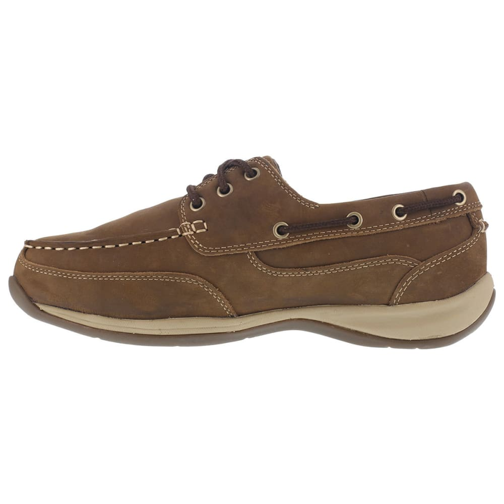 ROCKPORT WORKS Women's Sailing Club Steel Toe Boat Shoes, Brown, Wide - BROWN