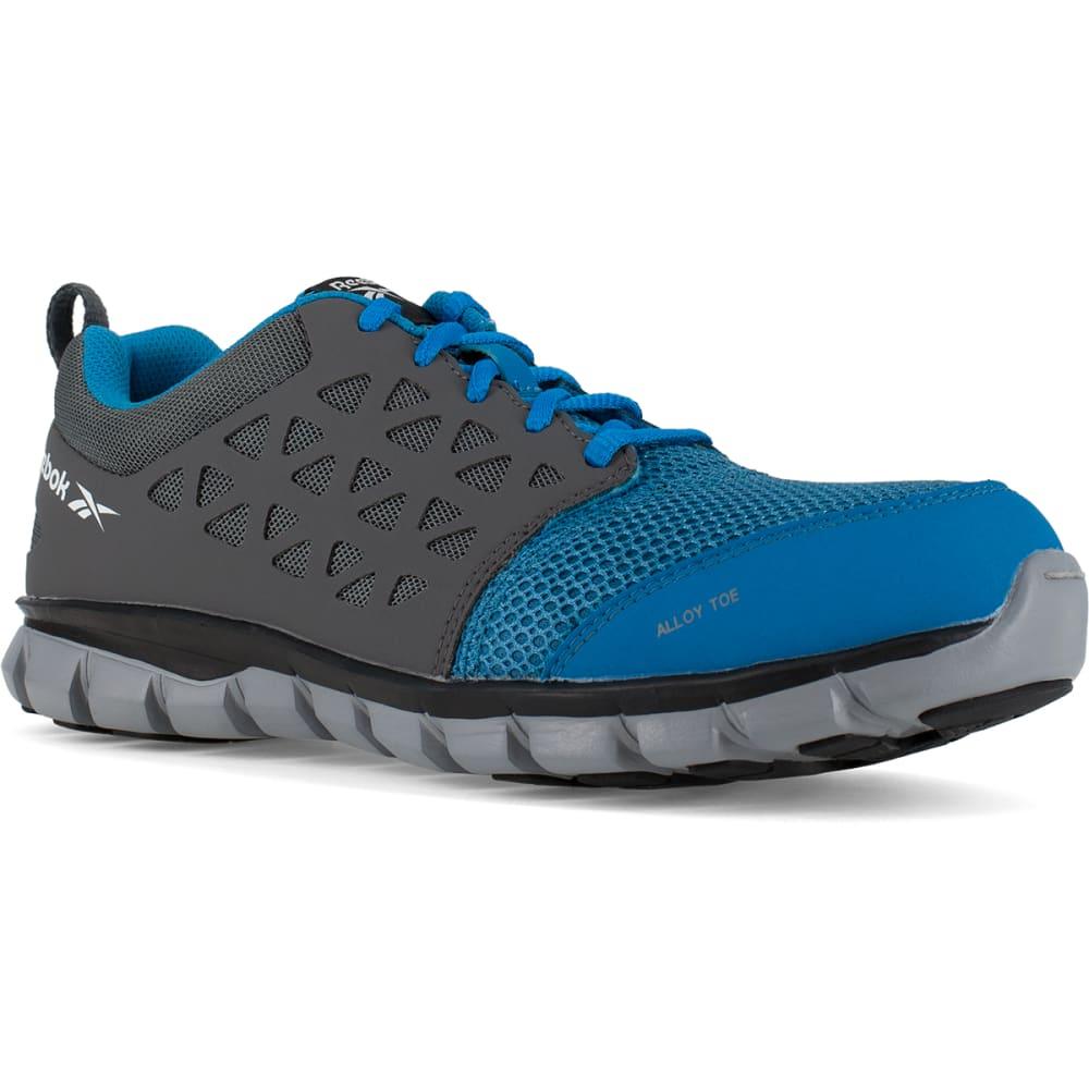 REEBOK WORK Men's Sublite Cushion Work Alloy Toe Work Shoes, Blue/ Grey 6