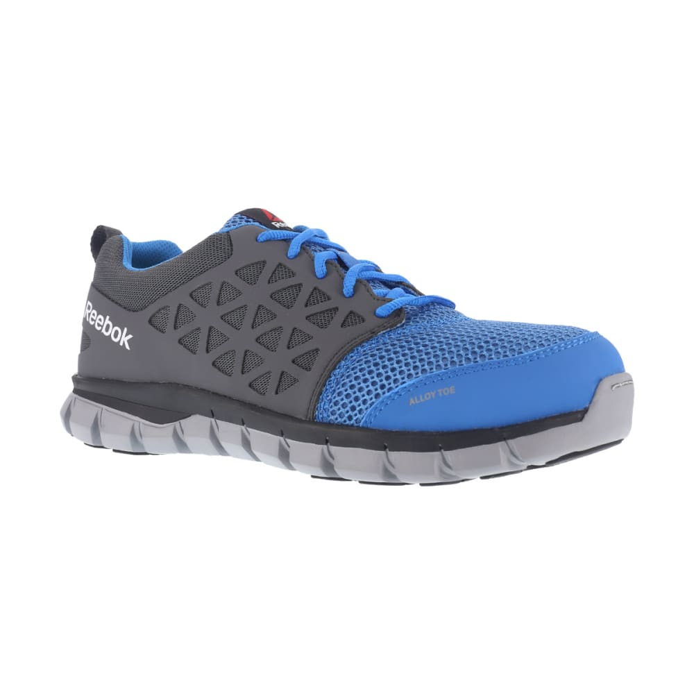 REEBOK WORK Men's Sublite Cushion Work Alloy Toe Work Shoes, Blue/ Grey, Wide 6