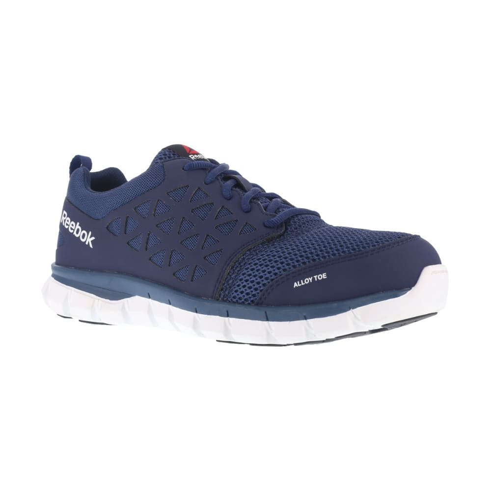 REEBOK WORK Men's Sublite Cushion Work Alloy Toe Work Shoes, Navy, Wide 7