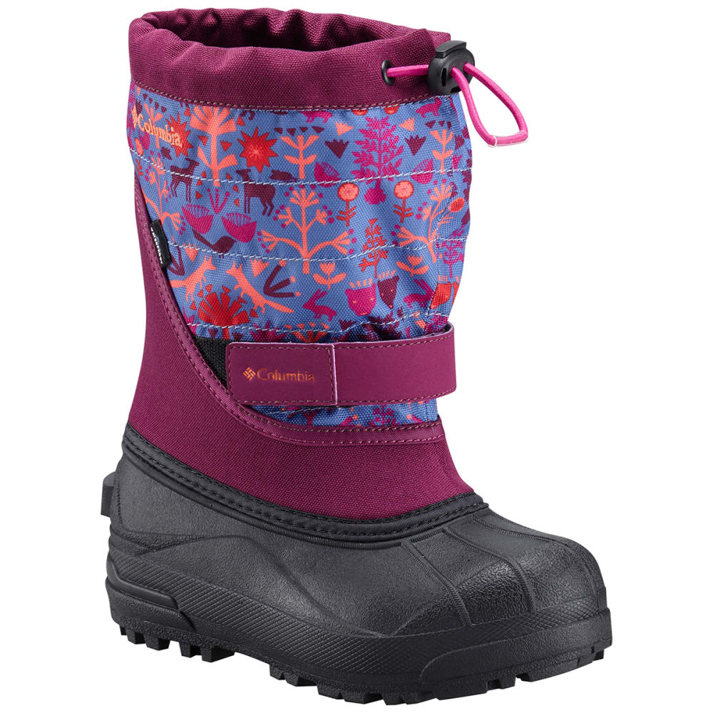 Columbia Big Girls Powderbug(TM) Plus Ii Print Waterproof Insulated Snow Boots, Dark Raspberry/bright Peach - Purple, 2