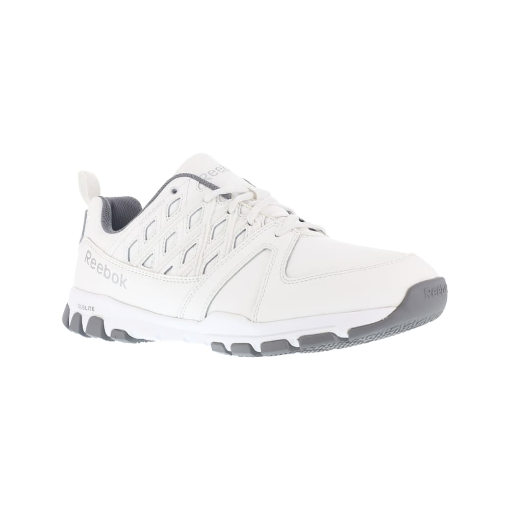 REEBOK WORK Women's Sublite Work Soft Toe Sneakers, White, Wide 7.5